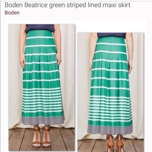 Boden Striped maxi lined Long Pleated Skirt